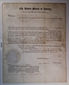 Thomas Jefferson and James Madison Signed Patent